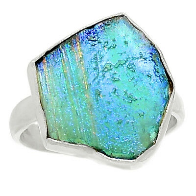 Ancient Roman Glass 925 Sterling Silver Ring Jewelry s.9 AR8568