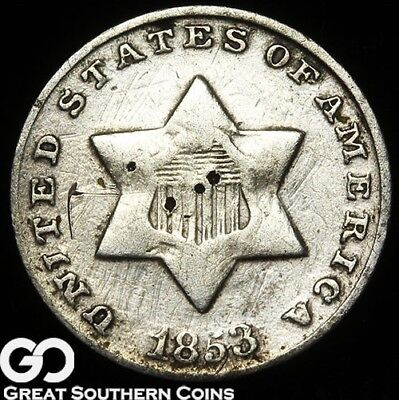 1853 Three Cent Silver Piece, Tougher Type