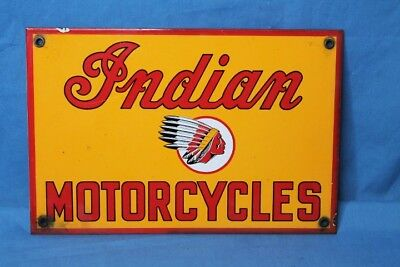 Vintage 1950 INDIAN MOTORCYCLE Old Service Station Advertising Sign