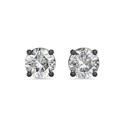 0.5Ct Created Diamond 14K Black Gold 4mm Round Screw Back Stud Earrings