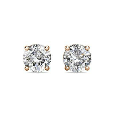 0.5Ct Created Diamond 14K Rose Gold 4mm Round Screw Back Stud Earrings