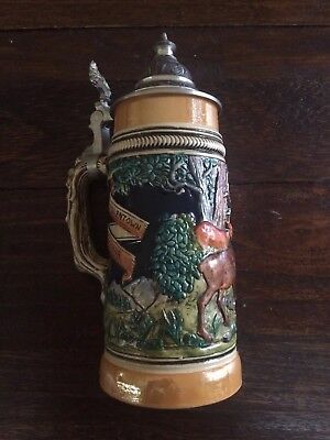 "Antique German Elk Beer Stein by Girmscheid #294 ""Allentown Penna"" Pa"