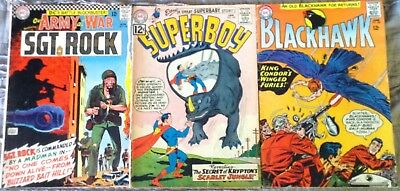 SILVER-AGE DC Comics lot- Our Army at War#170, Blackhawk#209&Superboy#102!!
