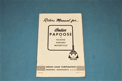 Rare! Original 1949 NOS Indian Papoose Motorcycle Riders Manual
