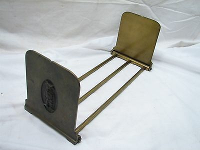 Early Cast Iron Wise Old Owl Expanding Book Rack Holder Brass Finish Bookend End