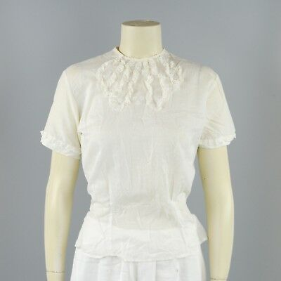 Vintage 50s White Cotton Sheer Perforated Sleeveless Rockabilly Blouse Shirt Top
