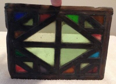 Vintage Multi Colored Leaded Stained Glass Window