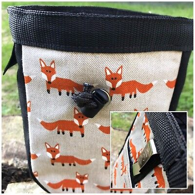 Large Hand Made Foxes Dog Treat Bag ,lined,Pocket,belt Clip