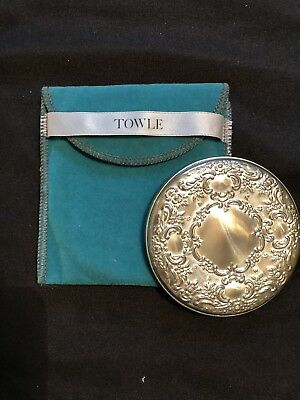 Vtg. Towle Sterling Silver Compact Pocket Makeup Mirror Scroll Repousse Design