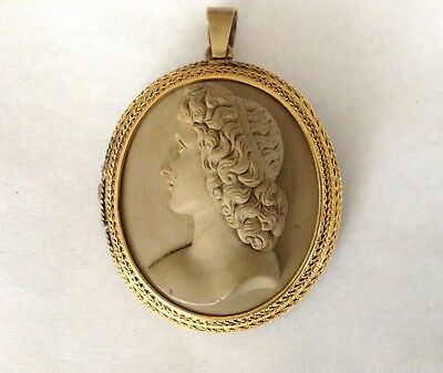 Antique Victorian Large 18K Gold High Relief Lava Cameo Pendant/Brooch Profile