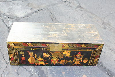 LARGE Vintage India Wood Storage Trunk Chest-Colorful Painted Designs