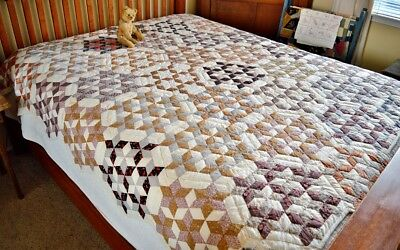 Antique Hand Pieced and Hand Quilted Seven Sisters Quilt