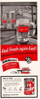 1955 a AD   RICHARDSON ROOT BEER DRIVE IN STRAWBERRY TOPPING SODA BEVERAGE