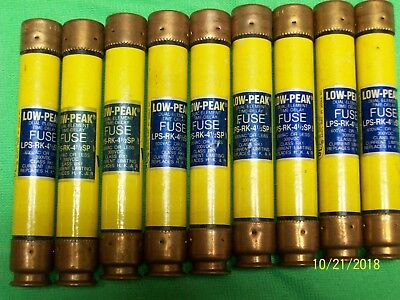 LOT OF 9 BUSSMANN LPS-RK-4-1/2SP 4 1/2 Amp Fuses Low-Peak 600V