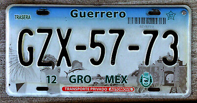 2003 Guerrero Mexico License Plate with Swordfish leaping High Out of the Ocean