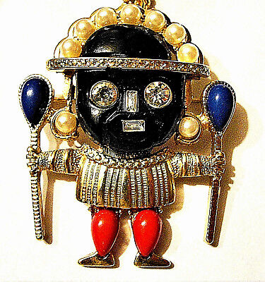 KJL Signed VOODOO Warrior WITCH Doctor Black Face Necklace Brooch