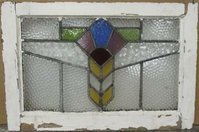 """MID SIZED OLD ENGLISH LEADED STAINED GLASS WINDOW Nice Geometric 24.25"""" x 16.25"""""""