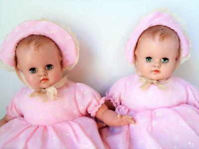 2 Vintage 1950s Madame Alexander Little Baby Genius Dolls PINK TWINS Mama Cryers