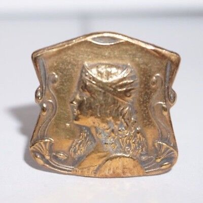 Antique Art Nouveau Hat Pin with Beautiful Lady with Long Hair