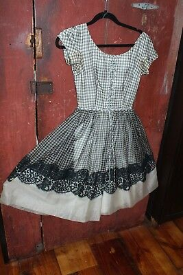 vintage prom dress 1940s 50s gingham chiffon lace black white pinup bombshell