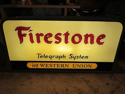 ORIGINAL 1930s 40's FIRESTONE WESTERN UNION REVERSE PAINTED GLASS SIGN LIGHTED