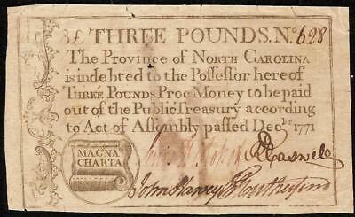 1771 Magna Charta North Carolina Colonial Currency Note Paper Money Nc-142 Pcgs