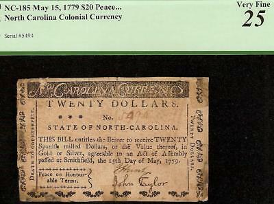 1779 $20 Peace On Honorable Terms Colonial Currency Note Paper Money Nc-185 Pcgs