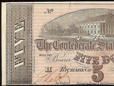 1864 $5 Dollar Confederate States Currency Civil War Note Old Paper Money T69 Au