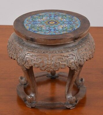Antique Chinese Vase Stand Carved Wood Cloisonne Insert Huanghuali