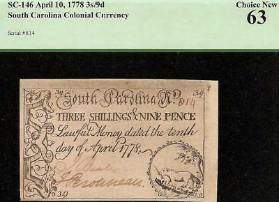 Unc 1778 Beaver Note South Carolina Colonial Currency Paper Money Sc-146 Pcgs 63