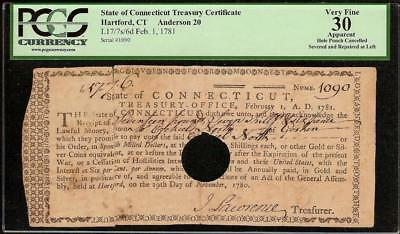 1781 Hartford Connecticut Treasury Certificate Colonial Currency Note Paper Pcgs