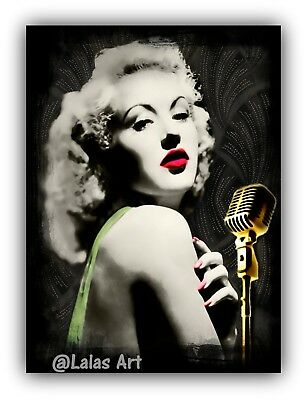Vintage style Painting of Betty Grable PinUp pin-up Girl 1930s -1940s Retro Art