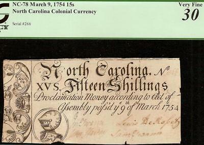 1754 Armor Note North Carolina Colonial Currency Old Paper Money Nc-78 Pcgs 30