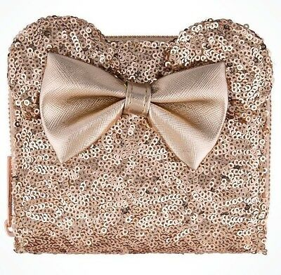 NEW Disney Parks Loungefly Rose Gold Sequined Minnie Mouse Ears Purse Wallet