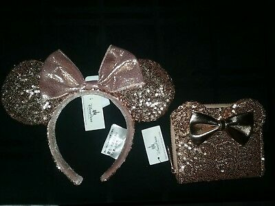 BRAND NEW Disney Parks Minnie Mouse Rose Gold Loungefly Wallet + Ears Combo