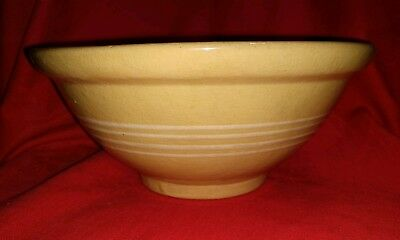 """Antique 10"""" YELLOWARE BOWL with 4 white stripes Yellow Ware"""
