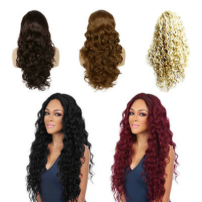 Women 27'' Long Wavy Curly Full Hair Wigs Black Brown Lady Synthetic Cosplay Wig