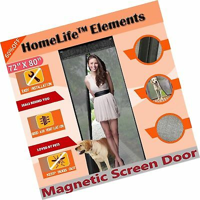 "HomeLife Elements 72""(w) X 80""(h) Magnetic Screen Door for French Doors/Slidi..."