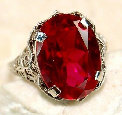 8CT Ruby 925 Solid Sterling Silver Art Deco Filigree Ring Jewelry Sz 7