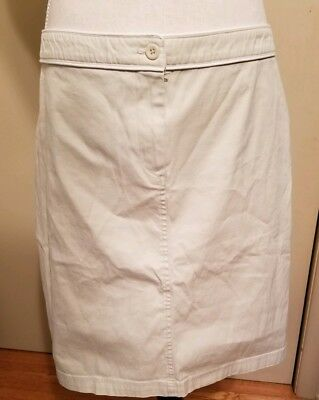 Liz Lange Maternity Size 8 Knee Length Khaki Chino Skirt White Trim NWT