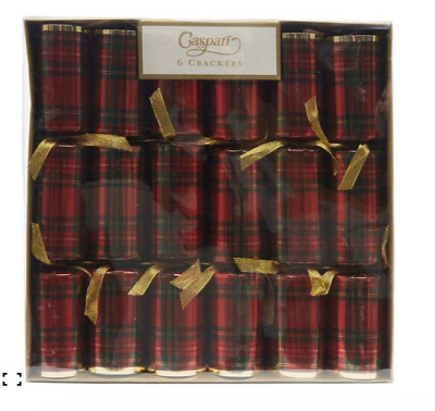 Caspari 6 X Luxury Tartan / Plaid Christmas Crackers Traditional Scottish Deisgn