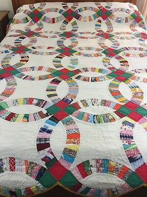Vintage Handmade Double Wedding Ring  Quilt  Well Quilted By Hand  95X85""