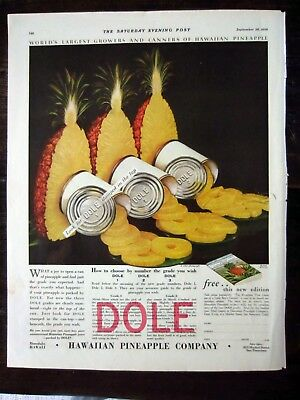 Vintage 1929 Hawaiian Pineapple Company Dole Ad Cans and Fruit