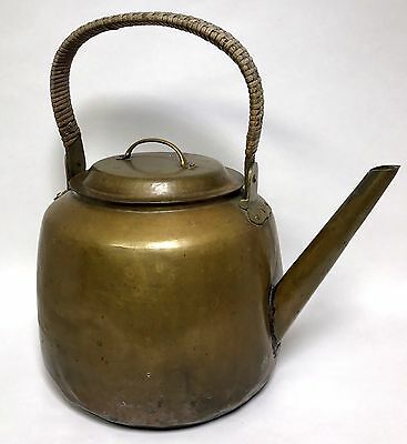 Copper and Brass Water Tea Coffee Pot Kettle w Lid Stamped W.O. Handmade Antique