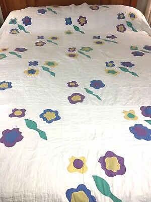 "VINTAGE HANDMADE UNIQUE APPLIQUE FLOWERS QUILT  ONE OF A KIND DESIGN 76"" x 86"""