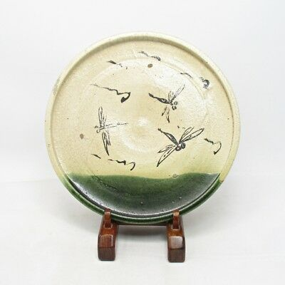 H352: Popular Japanese old ORIBE pottery ware plate called ANDON-ZARA