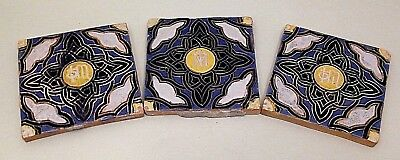 Antique Glazed Hand Made? Clay Tiles-x 3-No Makers Mark