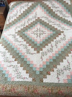 "VINTAGE INSPIRED  HEIRLOOM TRIP AROUND THE WORLD QUILT  68"" x 87"" JCP"