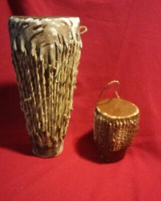 Two African drums hide covered leather primitive & tribal