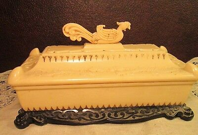 Vintage Chinese Rooster Dragon Celluloid Plastic Oriental Trinket Jewelry Box